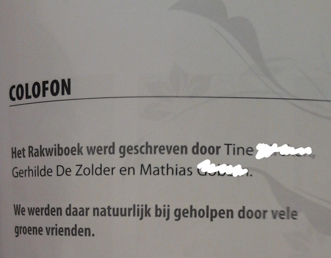 Colofon rakwiboek