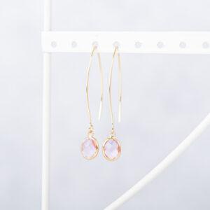 oorbellen gerhilde maakt roze geslepen door Sophie Peirsman klein